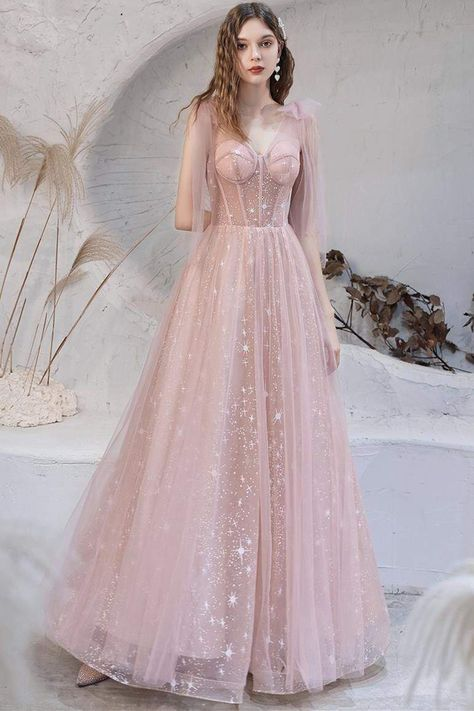 Pink A-line Tulle Long Prom Dress with Lace Up Back