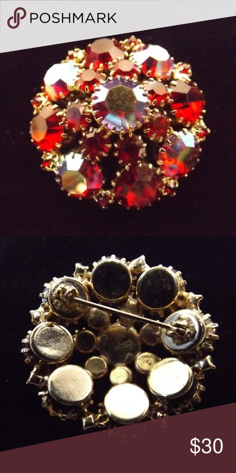 Lovely Red Rhinestone Weiss Brooch Gold Lovely Red Rhinestone Weiss Brooch Gold  Excellent, no missing stones or replacements  1.5