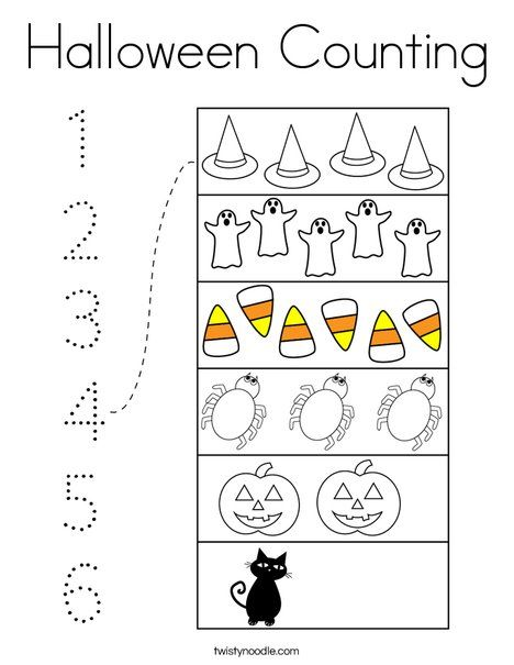 Halloween Counting Coloring Page Twisty Noodle Halloween Counting Fall Preschool Activities Halloween Coloring Pages