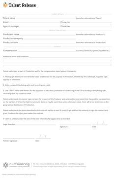 Download Talent Release Template Talent Release Form For Film Treat Your Talent Well One Day They Might Be An Action Film Releases Filmmaking Screenwriting