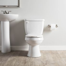 Project Source High Efficiency White Watersense Labeled Round Standard Height 2 Piece Toilet 12 In Rough In Size At Lowes Com Toilet Water Sense China Toilet