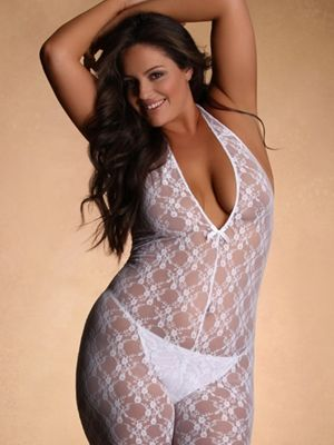 Make a statement without saying a word in this stunning all white Stretch Lace Body Stocking. The innocence of white along with thenaughtiness of a stretch lace bodystocking with convenience crotchanda deep V halter neckline is a suprise he won't even see coming.  Pair with your favorite stilettosor simply go barefoot. Either way, you're certain to entice.  Panty sold separately.