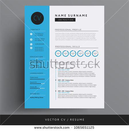 Cv Resume Design Template Blue Color Minimalist Vector Cv Modern Curriculum Vitae Design Resume Design Resume Design Template Design Template