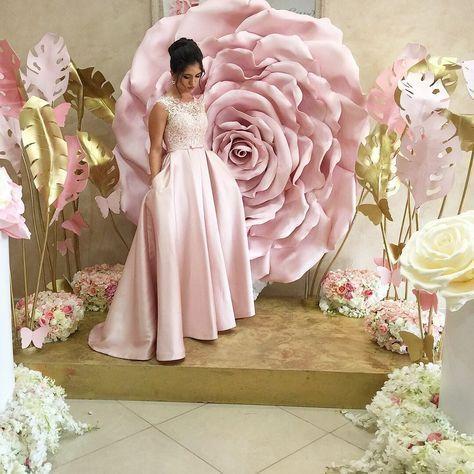 Pink And Gold Paper Flower Bridal Shower Decor Flower Backdrop Paper Flowers Wedding Decorations