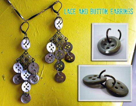 Lace & Button Earrings