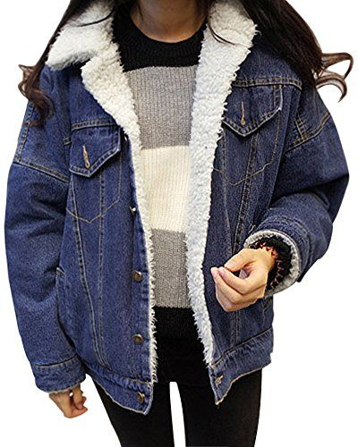Minetom Damen Warm Wintermantel Winterjacke Jeansjacken Blau