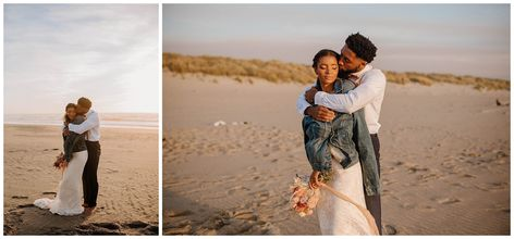 """If you've ever visited the Oregon Coast, you know how spectacular the """"beach"""" can be in the summer. It can be freezing cold and windy, but the sunset can make it look like the warmest, most tropical and inviting place. Such was the case during this elopement shoot in late August... #bohobride #greenweddingshoes #oregoncoast #coastalwedding #beachwedding #sunsetwedding #oregonelopementphotographer"""