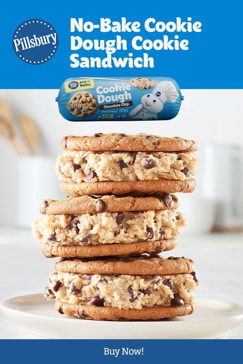 Cake Mix Cookie Recipes, Cake Mix Cookies, Sandwich Cookies, No Bake Cookies, No Bake Cookie Dough, Delicious Desserts, Yummy Food, Dessert Drinks, Dessert Ideas