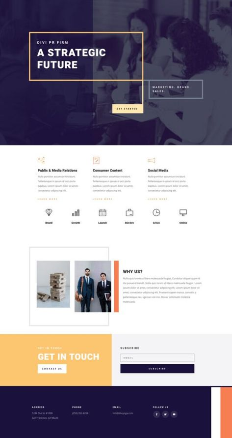 PR Firm Home Page | Elegant Themes