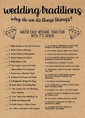 Wedding Traditions Game, Bridal Shower Games Printable, Bridal Shower Game Idea, Bridal Shower Instant Download, Wedding Game, Kraft Paper