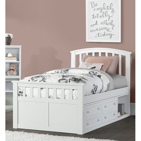 Ne Kids Schoolhouse 4 0 White Twin Bed With 2 Storage Unit