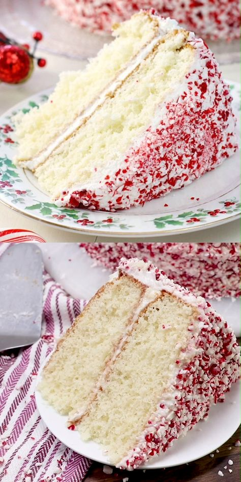 Dazzle your friends and family with this simple and delicious Holiday Peppermint Cake! It just may become a holiday tradition!
