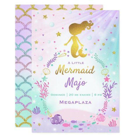 Bebé De Little Mermaid De La Invitación De Baby Zazzle Com