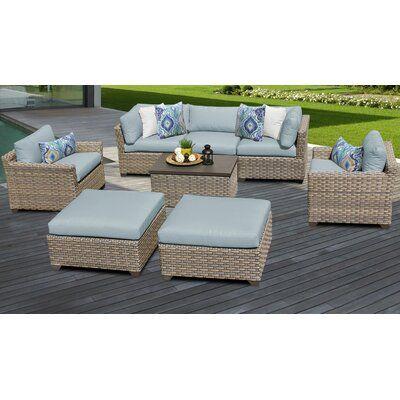 Wicker Patio Furniture, Corvus 8 Piece Grey Wicker Patio Furniture Set With Blue Cushions