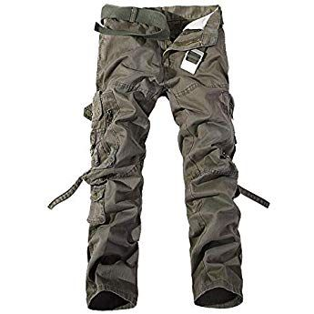 AKARMY Mens Casual Relaxed Fit Military Tactical Work Cargo Pants Camo Army Cotton Trousers with Multi Pockets