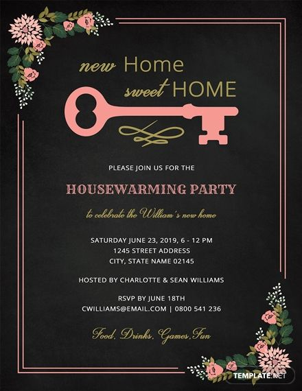 Free Chalkboard Housewarming Invitation In 2019