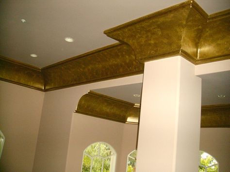 Decorative Crown Molding Ideas Foam Was Painted With Metallic Paint Not The Color Idea Is That Might Be Easier To Work