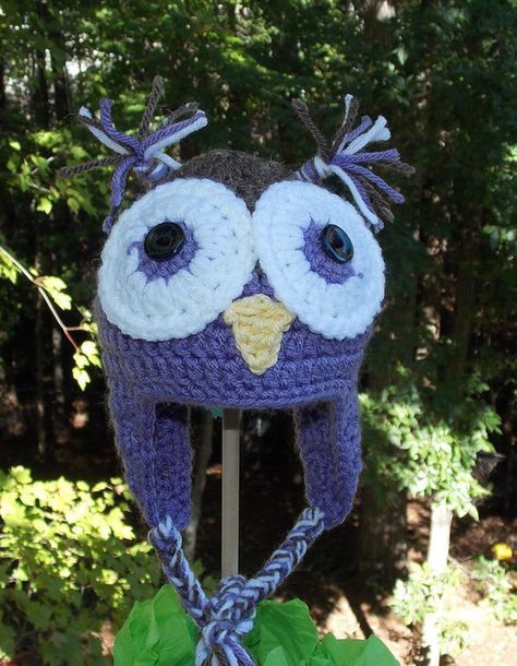 Owl Ear Flap Hat ...  Purple and Brown  by sweetpeacollections, $20.00