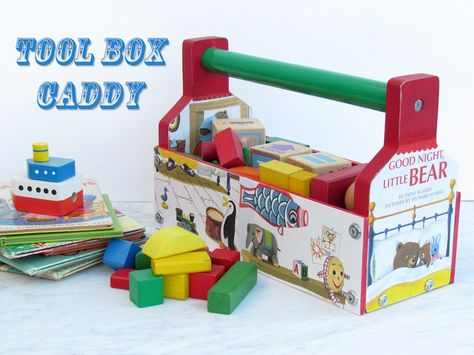 Tool box caddy made from thrift store finds and Mod Podged with children's books.