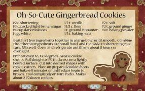 Recipe Cards For Gingerbread Cookies Great Gifting