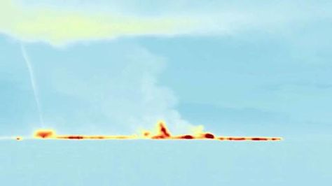 A Volcano Tornado!! ~ A infrared camera from the Nicarnica Aviation's NicAIR II was used to spot the toxic tornado on Sept. 3, 2014. It whirled volcanic gases and ash particles during an ongoing Holuhraun fissure eruption. Full Story: http://goo.gl/WTP8aH