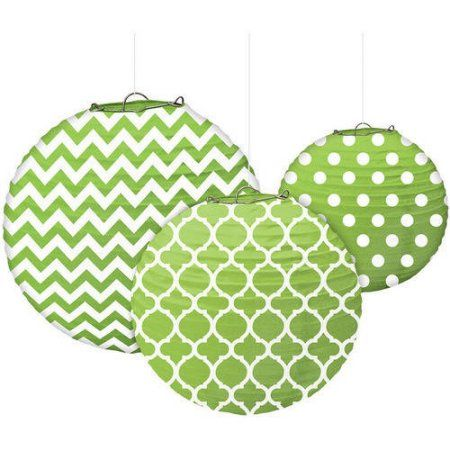 Paper Lanterns Walmart Extraordinary Designs Paper Lanterns Pkg3 Green  Paper Lanterns Walmart And Decorating Design
