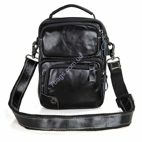 4db8000a36a3 Универсальная мужская кожаная сумка с ремешком через плечо, черная из  натуральной телячьей кожи всемирно-