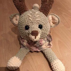 Crochet stuffed deer pajamas bag Lovey animals pattern Toy 20 inch Crochet Deer PATTERN pajama cases Amigurumi reindeer tutorial BIG deer
