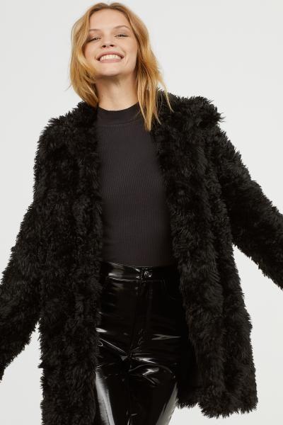 Faux Fur Jacket Black Ladies H M Us 1 Black Faux Fur Jacket Faux Fur Jacket Short Faux Fur Coat