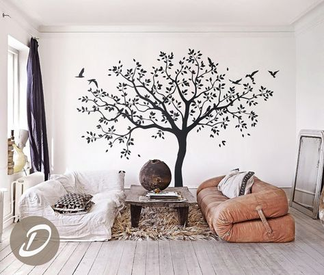 Your walls will stand out with this adorable vinyl wall decal set in a delicate tree design with gorgeous birds. Wall decals offer an easy and affordable solution to take on those blank walls without the need of hanging wallpaper or painting. Temporary vinyl wall decal is ideal for apartment renters or anyone who loves to decorate. Standard size for this tree decal is 80.7 wide x 80.7 tall (205cm x 205cm) SET INCLUDES 1 vinyl wall tree decal and leaves Detailed decal application instructi...
