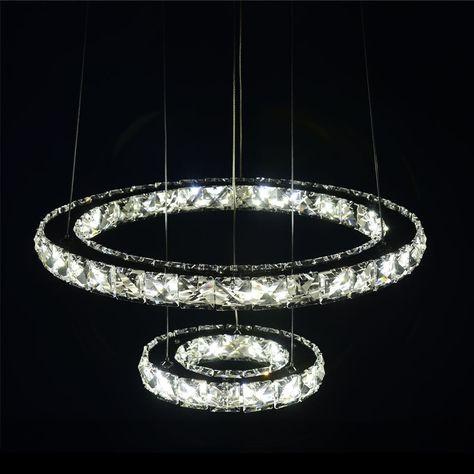 ECOPOWER LED K9 Kristall 2-Ringe Deckenleuchte Hängeleuchte 24W