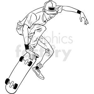 Black And White Cartoon Skateboarder Doing Tricks Vector Illustration Black And White Cartoon Clip Art Vector Illustration
