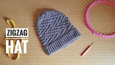 a19c991d1a3 How to Loom Knit an Easy ZigZag Slouchy Beanie Hat (DIY Tutorial) - YouTube