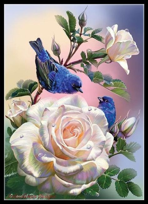 Roses and Blue Birds - Counted Cross Stitch Patterns - Printable Chart PDF Format Needlework Embroidery Crafts DIY DMC color