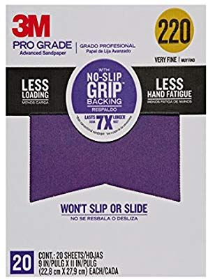 3m Pro Grade No Slip Grip Advanced Sandpaper 9 X 11 Inches 220 Grit 20 Pack Abrasive Sheets Amazon Com In 2020 Sandpaper Staining Wood Using A Paint Sprayer