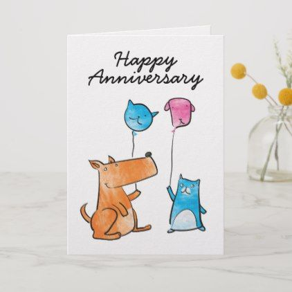 Cat And Dog With Balloons Anniversary Card Zazzle Com Anniversary Cards Custom Greeting Cards Balloons