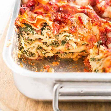 Spinach Lasagna Recipe Yummy I Used Trader Joe S Marinara Garlic Sauce Two Small C Vegetarian Lasagna Recipe Veggie Lasagna Recipe Vegetable Lasagna Recipes