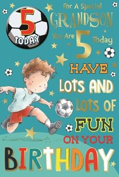 Grandson 5th Birthday Card Badge 5 Today Young Boy Football