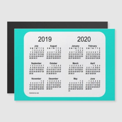 2019 2020 Turquoise School Year Calendar By Janz Calendars 2019