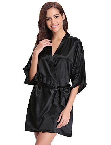 84053e3f7ec94 Aibrou peignoir long satin pyjama femme sexy ensemble chemise de nuit  peignoir nuisette kimono japonais déshabillé vetement cadeau pour la fête  mariage ...