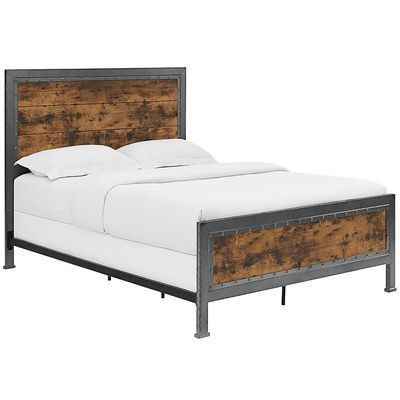Industrial Brown Wood Metal Queen Bed Pier 1 Imports