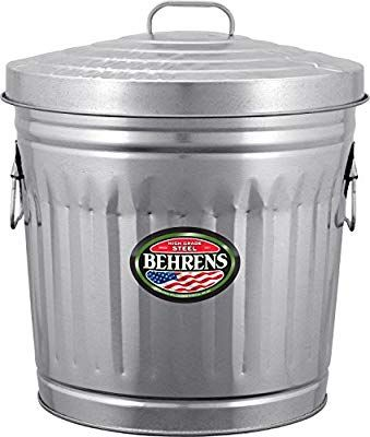 Amazon Com Behrens Manufacturing 6210 Galvanized Steel Trash Can