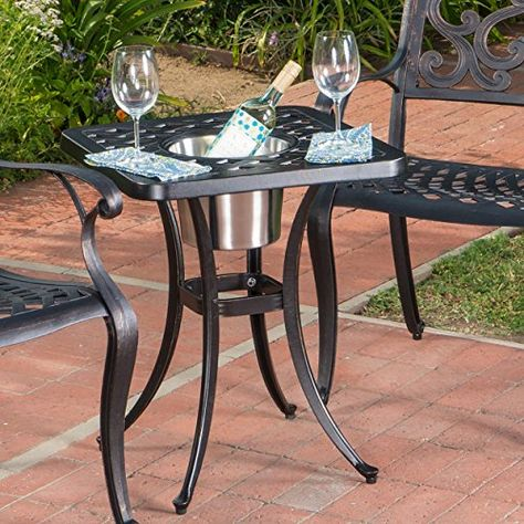 Ariel Outdoor Patina Copper Bistro Table With Ice Bucket In 2020 Bistro Table Outdoor Bistro Table Porch Furniture Sets