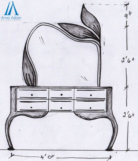 Beautiful Sketch Work For Home Interior By AAA Dressing Table