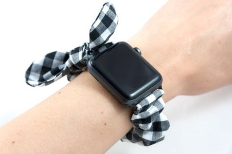 B W Gingham Apple Watch Scrunchie Band With Top Knot Bow 38mm