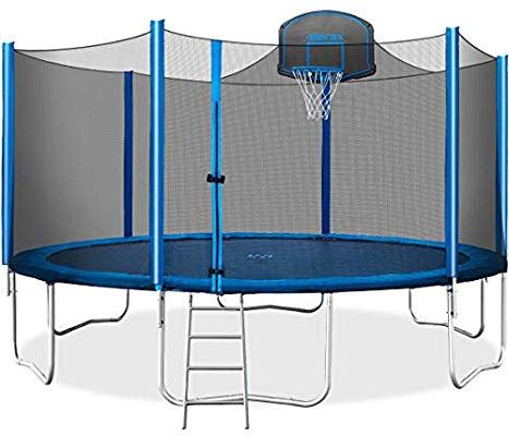 Amazon Com Merax 15 Ft Trampoline With Safety Enclosure Net Basketball Hoop And Ladder 2019 Upgraded Kids Bas Kids Trampoline Best Trampoline Trampoline
