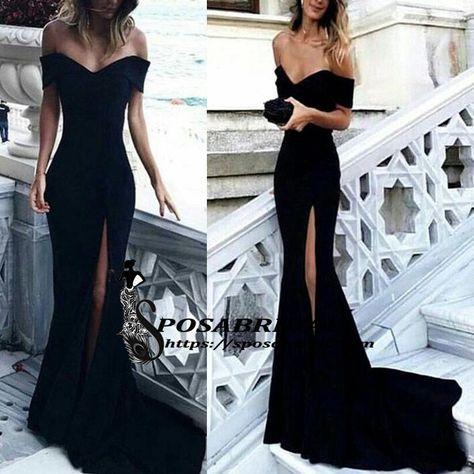 492d4f57a3e Schwarz Boot-Ausschnitt Unregelmäßig Schlitz Off Shoulder Drapiert Elegant  Maxikleid Abendkleid