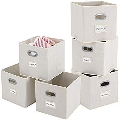 Amazon Com Magicfly Cloths Storage Bins With Label Holders 6 Pack Foldable Fabric Cube Organizers With Handle F Cube Storage Storage Bins Fabric Storage Bins