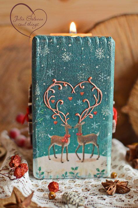 Suszian Adornos para candelabros navide/ños candelabros Regalo de decoraci/ón del hogar de Navidad Ideal para el hogar y Las Bodas 6 Piezas de Renos navide/ños con luz de t/é