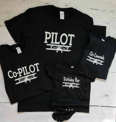 Pilot, Co-Pilot and Family T-shirts, Helicopter or Airplane